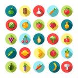 Sistema de iconos planos de las frutas y verduras del diseño Foto de archivo libre de regalías