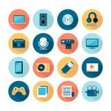 Sistema de iconos planos de las multimedias Imagen de archivo libre de regalías
