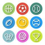 Sistema de iconos planos de los deportes Vector Fotos de archivo libres de regalías