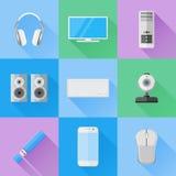 Sistema de iconos planos de los dispositivos del ordenador Imagenes de archivo