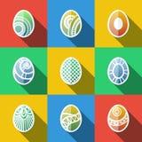 Sistema de iconos planos de los huevos de Pascua Foto de archivo libre de regalías