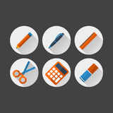 Sistema de iconos planos de los materiales de oficina Stock de ilustración