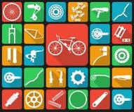 Sistema de iconos planos de los recambios de la bicicleta Imágenes de archivo libres de regalías