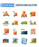 Sistema de iconos planos de los sistemas de la entrega y de la logística con el envío, el almacén, la carga, los documentos falso Imágenes de archivo libres de regalías