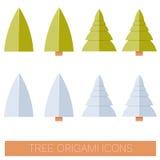 Sistema de iconos planos del árbol del origame stock de ilustración