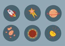 Sistema de iconos planos del cohete, planeta, meteoritos, radar, sol, estrella Fotografía de archivo