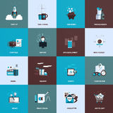 Sistema de iconos planos del concepto de diseño Fotos de archivo libres de regalías