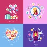 Sistema de iconos planos del concepto de diseño Imágenes de archivo libres de regalías