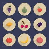Sistema de iconos planos del diseño de frutas Imagenes de archivo