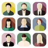 Sistema de iconos planos del diseño del avatar Imagen de archivo