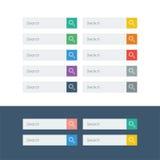 Sistema de iconos planos del diseño de la búsqueda en barras coloridas Foto de archivo