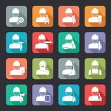 Sistema de iconos planos del estilo del trabajador de construcción Fotografía de archivo libre de regalías