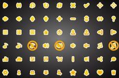 Sistema de iconos planos del juego en estilo de la historieta Imágenes de archivo libres de regalías