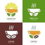 Sistema de iconos planos del logotipo del té verde del vector y del café caliente stock de ilustración