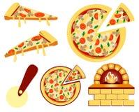 Sistema de iconos planos del menú de la pizza Ejemplo del vector aislado en blanco Imágenes de archivo libres de regalías