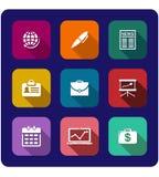 Sistema de iconos planos del negocio Fotografía de archivo libre de regalías