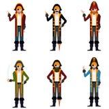 Sistema de iconos planos del pirata Imágenes de archivo libres de regalías