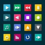 Sistema de iconos planos del reproductor multimedia Imagen de archivo