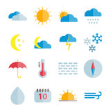 Sistema de iconos planos del tiempo del vector colorido Imagenes de archivo