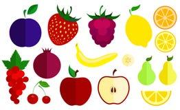 Sistema de iconos planos del vector de bayas y de frutas Colección de diversas bayas y frutas Fotos de archivo libres de regalías