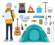 Sistema de iconos planos del vector de la historieta Turismo, tienda, subiendo, alpinismo, de noche, aventura ilustración del vector