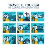 Sistema de iconos planos del viaje con el fotógrafo del carácter Países diferentes del mundo Países que vale visita ilustración del vector