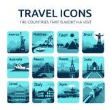 Sistema de iconos planos del viaje con los países diferentes Imagenes de archivo