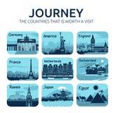 Sistema de iconos planos del viaje con los países diferentes Imagen de archivo libre de regalías