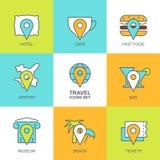 Sistema de iconos planos del viaje del vector Trace los símbolos, punto de referencia, hotel, t Imagen de archivo