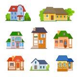 Sistema de iconos planos de la casa ilustración del vector