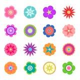 Sistema de iconos planos de la flor de la primavera en la silueta aislada en blanco imagenes de archivo
