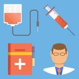 Sistema de iconos planos médicos del vector del diseño stock de ilustración