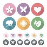 Sistema de iconos planos románticos simples Imagenes de archivo