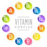 Sistema de iconos principales de la vitamina Fotografía de archivo