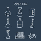 Sistema de iconos químicos lineares Pintado con tiza Diseño plano Aislado Vector Imagen de archivo
