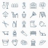Sistema de iconos que cultivan un huerto libre illustration