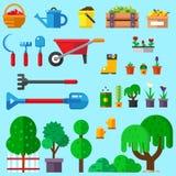 Sistema de iconos que cultivan un huerto del plano Imágenes de archivo libres de regalías