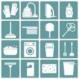 Sistema de iconos que limpian, diseño plano, ilustración del vector