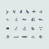 Sistema de iconos que practican surf Foto de archivo libre de regalías