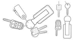Sistema de iconos realistas de las llaves contorno Fotografía de archivo