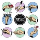 Sistema de iconos redondos en estilo del grabado del vintage con las manos y el CRNA libre illustration