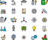 Sistema de iconos relacionados de la ciencia Foto de archivo libre de regalías