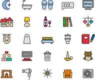 Sistema de iconos relacionados de la noche Imágenes de archivo libres de regalías