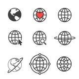 Sistema de iconos relacionados del esquema del globo Apps del web Línea fina iconos del vector para el diseño y el desarrollo, de Imagen de archivo