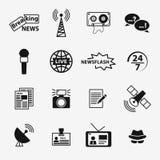Sistema de iconos relacionados del periodismo Imagen de archivo libre de regalías
