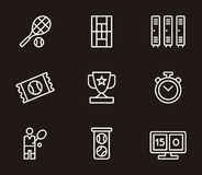 Sistema de iconos relacionados del tenis Imagen de archivo libre de regalías