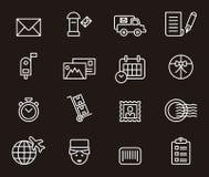 Sistema de iconos relacionados postales Fotos de archivo libres de regalías