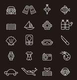 Sistema de iconos relacionados que se zambullen ilustración del vector