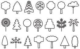 Sistema de iconos resumidos del árbol ilustración del vector