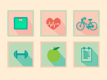 Sistema de iconos retros del diseño plano de la aptitud imágenes de archivo libres de regalías